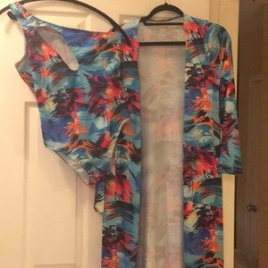 Tropical print bathing suit and cover. NWOT